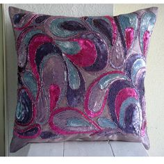 Decorative Throw Pillow Covers Accent Pillows Couch Pillows 16 Inch Silk Pillow Cover Embroidered Colorful Sequins Bead Royal Obsession Home