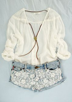 lace shorts + white top