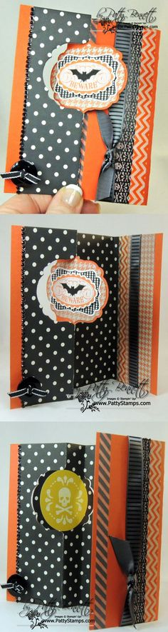 www.PattyStamps.com - Label card thinlit flip card for Halloween with Stampin' up! Halloween Banner kit accessories