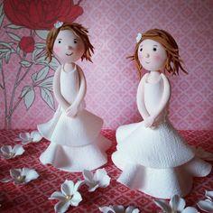 little fondant girls for Communion cakes