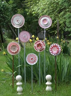 Pink plate flower collection, garden plate flowers