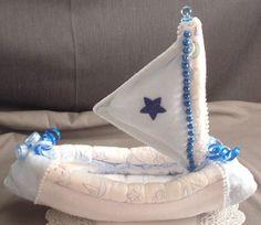 nautical baby shower ideas | SAILBOAT Diaper Cake TOPPER Boy Baby Shower Decorations - Keepsakes ...