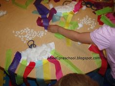 Weather Theme:  Make rain shakers.  folded paper plate  cotton balls  glue  beans  colored tissue paper in rainbow colors.  A, Bee, C, Preschool