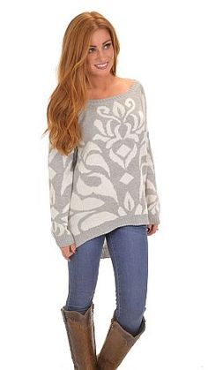 Loving the sophisticated scroll print on this slouchy sweater! $46 at shopbluedoor.com