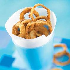 These crispy, crumb-coated onion rings are oven-baked so they have far less fat than the traditional fried recipe.