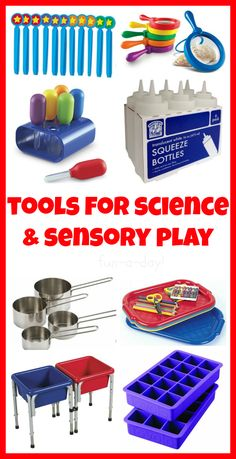 15 Tools for Fun Science Experiments and Sensory Play -- Items that are often found at The Dollar Store, local grocery stores, and even around the house! Great ideas for getting science and sensory play started at home and at school!