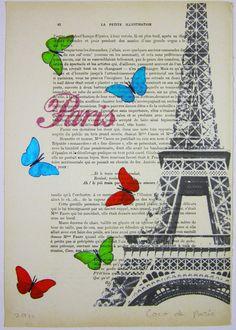 Butterflies from Paris - ORIGINAL ARTWORK Hand Painted Mixed Media on 1920 famous Parisien Magazine 'La Petit Illustration' by Coco De Paris. $10.00, via Etsy.    ...BTW,Please Check this out:  http://artcaffeine.imobileappsys.com