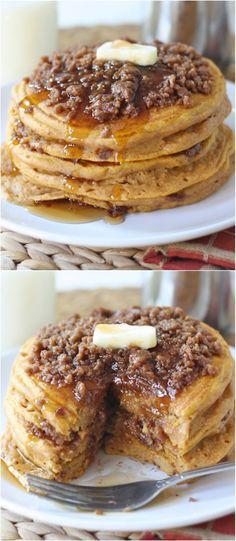 Pumpkin Cinnamon Streusel Pancake Recipe on twopeasandtheirpod.com
