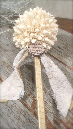 Cream Flower Girl Wand Bridesmaids Floral Wand by BurlapandLinenCo