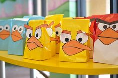 favor bags, party favors, gift bags, treat bags, bird party, party bags, goodie bags, lunch bags, angri bird