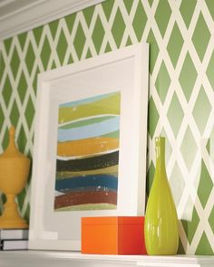 DIY Project! Update your living room with a patterned wall. We have the step-by-step tutorial.
