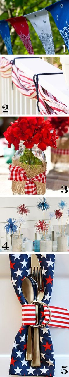 Geraniums in a mason jar, with burlap and red and white gingham print ribbon on the outside- VERY cute decoration for your Memorial Day party table