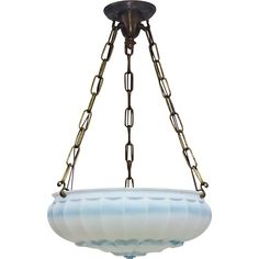 1920s satin glass bowl pendant light fixture with blue accents.