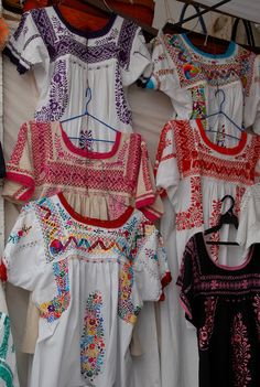 Mexican Peasant Blouses. Embroidered blouses from Oaxaca