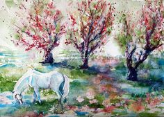 White Horse Art  Sugar  in the Apple Orchard by CheyAnneSexton