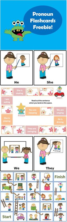 $1. Subject Pronouns Flashcards + Board Games This freebie contains 8 Subject Pronoun Flashcards (I, You, He, She, We, They, It) + 2 board games! http://www.teacherspayteachers.com/Product/Subject-Pronouns-Flashcards-Board-Games-ESL-Roller-Freebie-780986