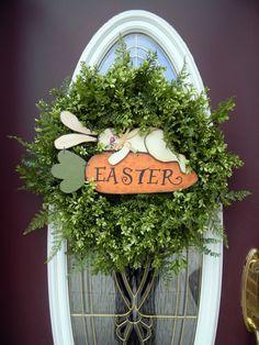 Prim Easter Bunny & Carrot Wreath...