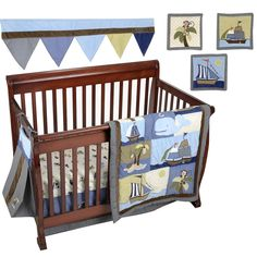 Turn your nursery into a pirate paradise with this Ahoy Mate 9-Piece Crib Bedding Set from NoJo. Buccaneer-themed appliques highlight the comforter dust ruffle and diaper stacker. The set also contains 2 fitted sheets a window valance and 3 pieces of fabric wall art. Made from a combination of cotton and polyester fabrics this incredible set coordinates with the Ahoy Mate collection (sold separately).