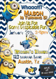 5 X 7 Printable Despicable Me Minion Birthday Party Invitation - Despicable Me 2 Party Ideas - Minion Party #minionparty #despicablemeparty
