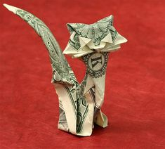 Origami Cat from One dollar bill