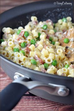 Creamy Pasta with half and half, bacon and Peas on www.veryculinary.com
