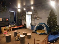 "Camping Room - Very cool feel. Obviously would need to be made a little more ""bedroom"" ish. But still.. very cool."