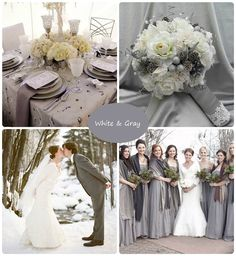 winter wedding gray and white palette, I would love to get married in the winter/snow!