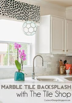 gorgeous DIY marble tile backsplash- awesome in a kitchen or shower!