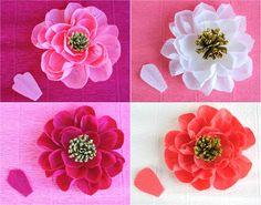 diy crepe paper flowers, handmade paper flower tutorial, crepes, craft idea, diy craft, papers, thing crafti, craft paper flowers, flower diy