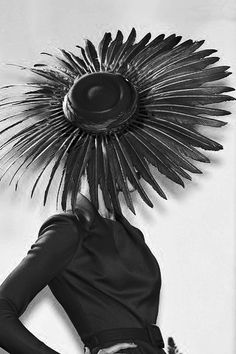 Dior - black feather hat - ascot