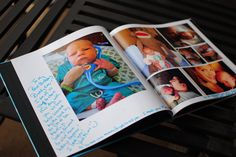 Great idea --- Snapfish book with pics from baby's first year for guests to sign at the 1st bday party.