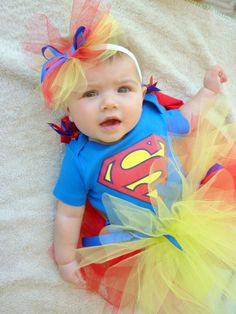 Super Man Tutu Set with Cape For Baby Girl by RolliePollieStore, $40.00