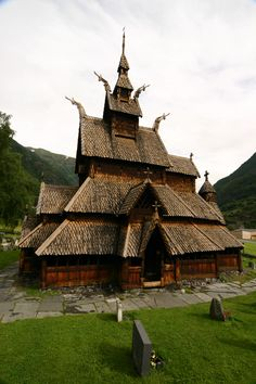 "highly unusual ancient building in Scandinavia. ""Stave Church in Norway, built in the late 1100's.  When the Vikings became Christians, they built Churches like this one, over 1,000 of them."""