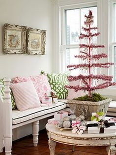 pink tinsel tree
