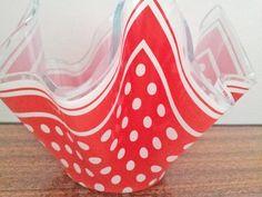 Cute Red Polka Dot Handkerchief Glass Vase 1960s by JuniperRetro, £12.00