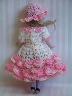 "Handmade Crocheted Dress Hat Set for 7"" 7 1 2"" German French All Bisque Doll 