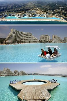 World's biggest swimming pool -  more than 1,000 yards long, covers 20 acres, a 115ft deep end, holds 66 million gallons of water. The Guinness Book of Records named this vast pool beside the sea in Chile as the biggest in the world. This pool took five years to build.