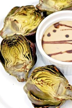 Homegrown Organic Artichokes and dipping sauce