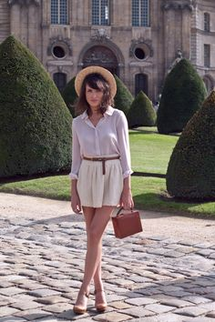 Pink Sheer Button Up Blouse + White A-line Skirt + Brown Skinny Belt + Brown Box Clutch + Taupe Mary Janes