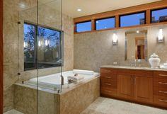 clean lines, frameless shower