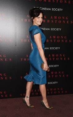 Carla Gugino is smoking hot in a blue dress and high heels at the movie premiere of A Walk Among Tombstones