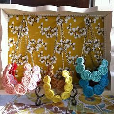craft show booth//display- Use the rest of this exact fabric in a try to display my rolled rosette necklaces & bib necklaces