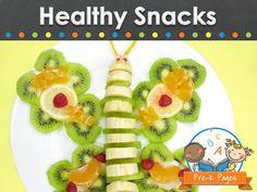 Healthy snack ideas for kids in preschool, pre-k, and kindergarten.