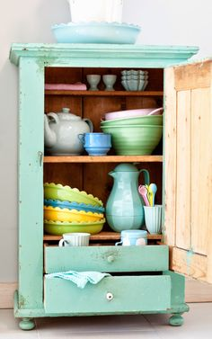beauti cupboard, color, mint cabinets, minti hous, kitchen cupboards