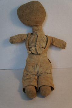 Great antique cloth doll, rag stuffed Amish C. 1890