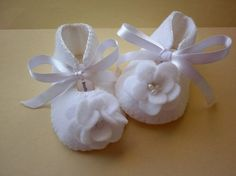 Baby girl christening or baptism booties.