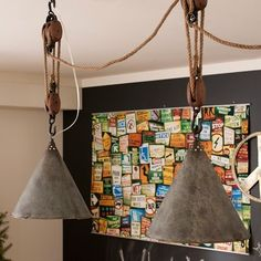 funnel lights on pulleys - Pottery Barn (this is cool!)
