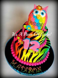 2Tier Neon Colored Owl/Zebra Print Cake