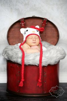 Hello Kitty inspired Crochet baby hat by GoodKarmaCrochet on Etsy, $28.00