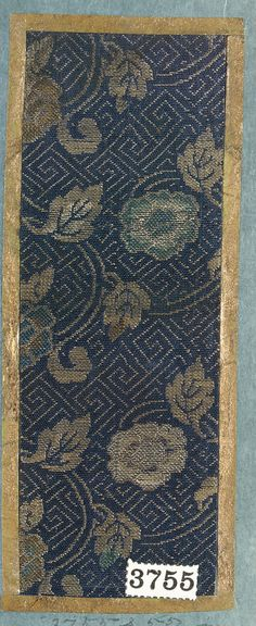 Textile Sample from Sample Book, 19th century.